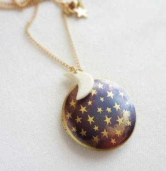 jewels necklace stars moon galaxy print clip