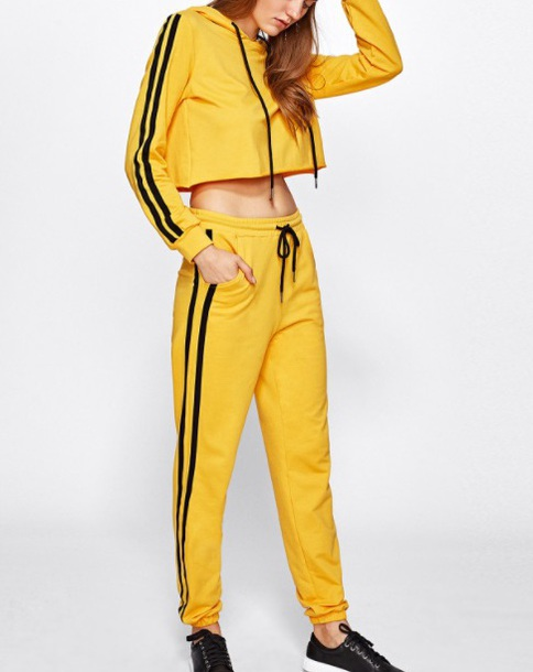 df73dd38a90e jumpsuit girly two-piece track pants joggers matching set yellow black  sweater hoodie crop tops