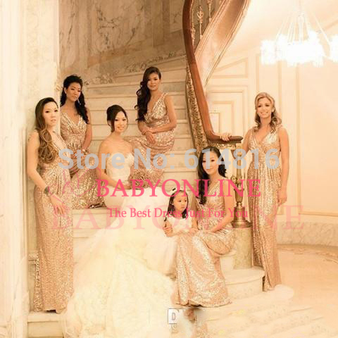 Aliexpress.com : Buy 2014 Gold Sequined Lace Bridesmaid Dresses Sexy V neck from Reliable lace vintage wedding dress suppliers on Suzhou Babyonlinedress Co.,Ltd