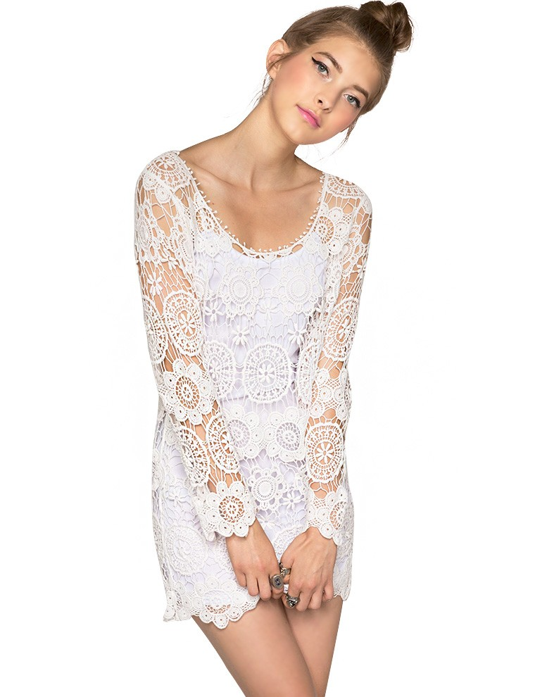 White Lace Dresses - Summer Floral Crochet Dress - $79