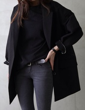 coat,boyfriend coat,all black everything,black,monochrome,belt,jeans,black jeans,leather belt,tank top,t-shirt,black t shirt,cropped t-shirt,crop tops,classy,long coat,trench coat,minimalist