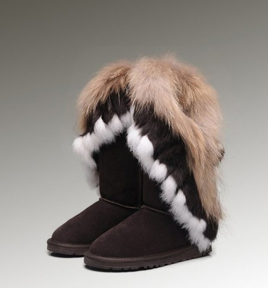 native american shoes brown white fur ugg boots boots