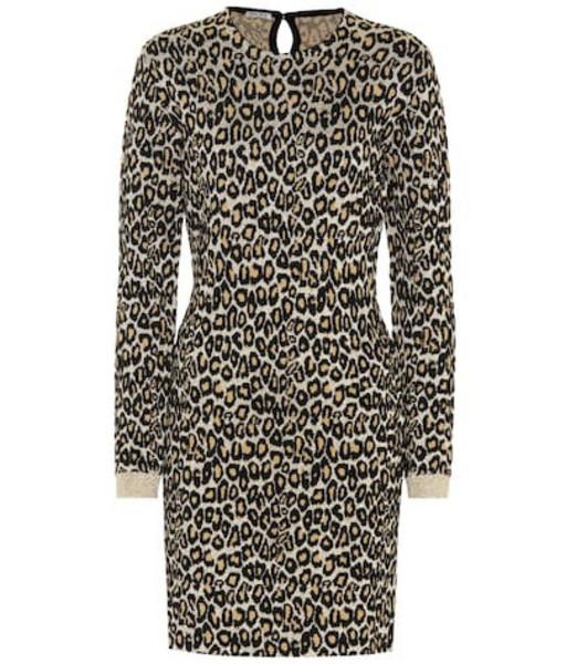 Miu Miu Leopard-print wool-blend dress in gold