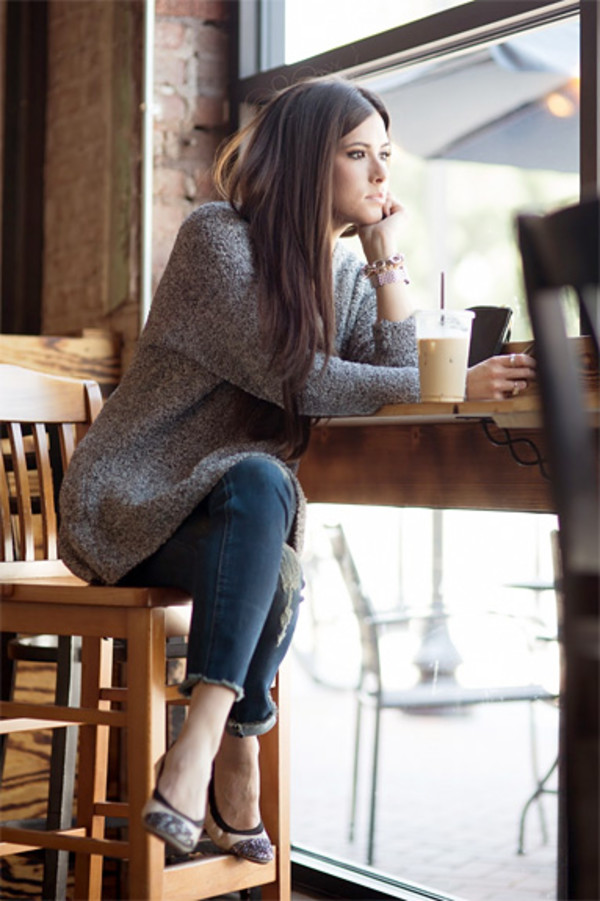 sweater blogger jeans flats fall outfits ballet flats printed ballerinas denim grey sweater grey oversized sweater