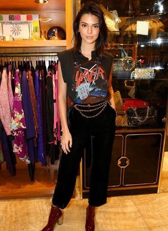 t-shirt top pants belt model off-duty kendall jenner kardashians