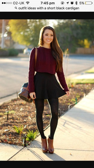 top burgundy sweater cropped sweater