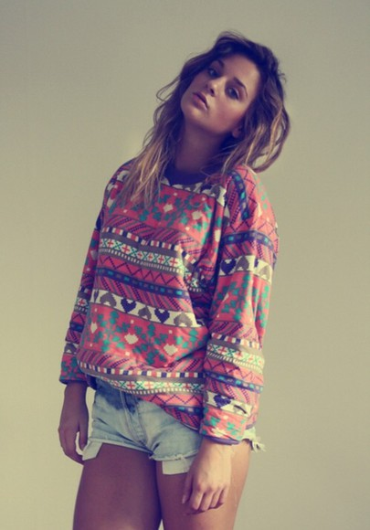 aztec aztec sweater shorts