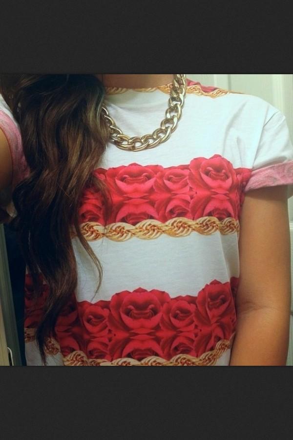 shirt pink roses tumblr tumblr t-shirt tumblr clothes tumblr roses floral jewels
