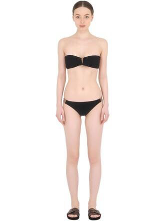 bikini bandeau bikini black beige swimwear