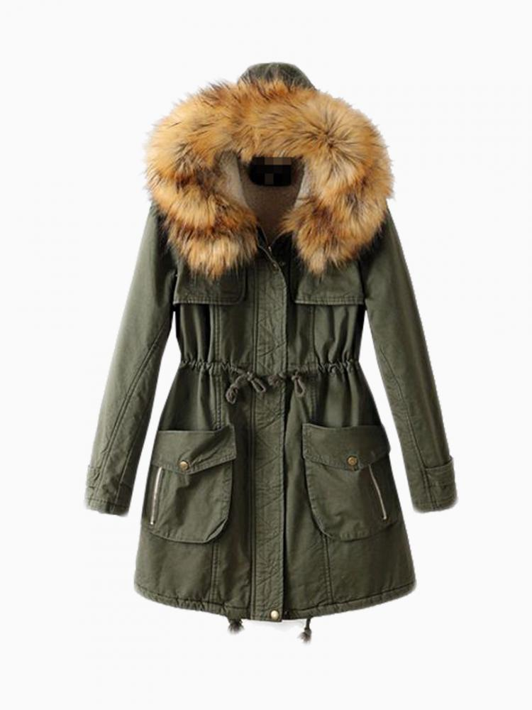 Cocoon Parka With Oversized Fur Trim Hood | Choies