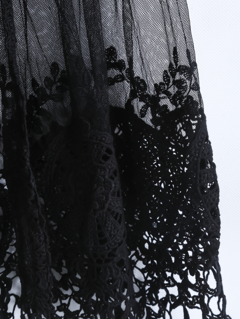 Black Short Sleeve Embroidered Tassel Blouse - Sheinside.com
