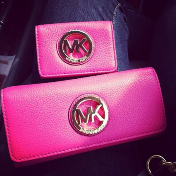 bag pink michael kors wallet