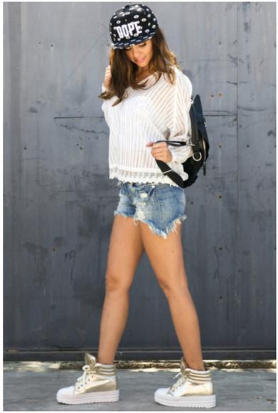 girl hipster top hoodie see through top snapback dope backpack denim cutoff shorts sneakers hiphop trendy