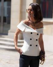 top,off the shoulder top,button up,necklace,white top,skinny jeans,handbag,sunglasses
