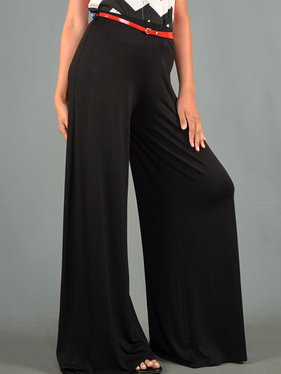 New Black Bohemian Retro 60s 70s 80s Wide Leg Boho chic fashion Palazzo Pants US
