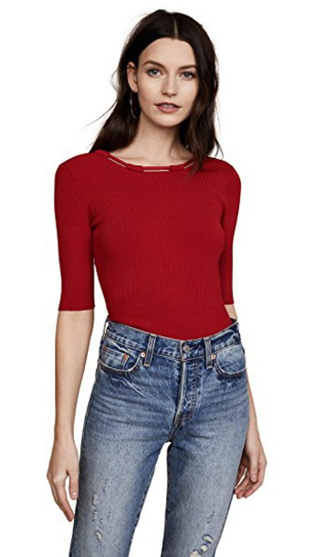 top back knit red