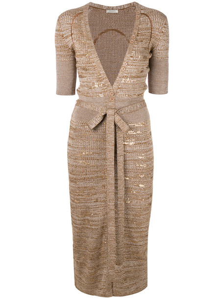 NINA RICCI dress women embellished nude wool