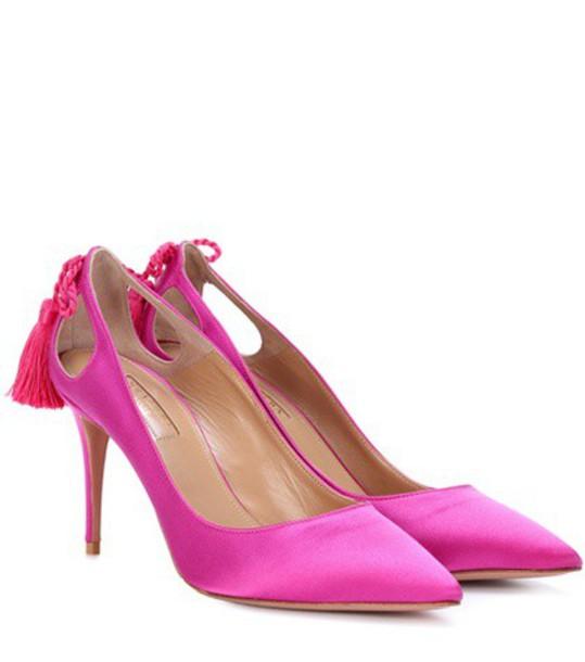 Aquazzura forever pumps satin pink shoes