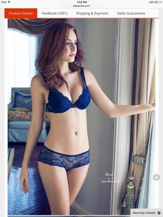 underwear blue lace lingerie cute