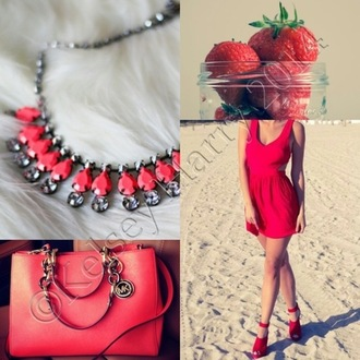 pink bag dress necklace heels chain diamonds strawberry red red dress silver jewelry strap heels beach