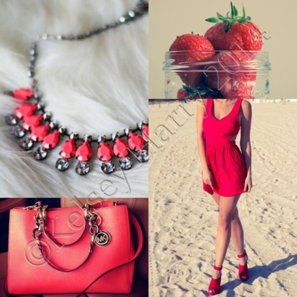 diamonds necklace dress chain pink strawberry bag red red dress heels silver jewelry strap heels beach