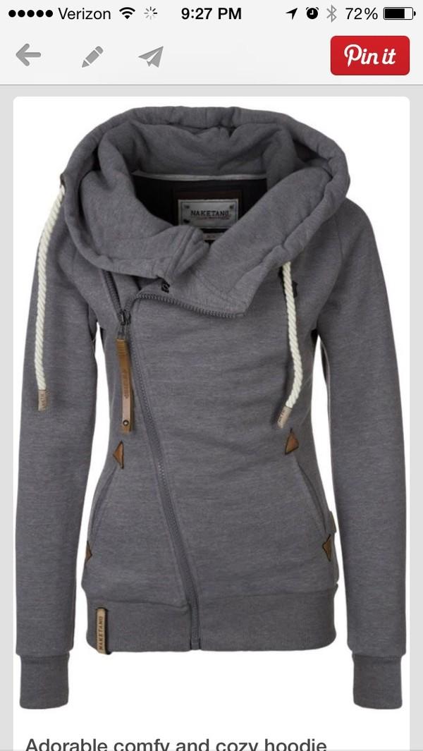 coat jacket hoodie grey
