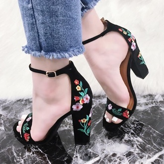 shoes black with flowers flork