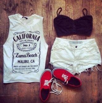 t-shirt vans cut off shorts underwear blouse california