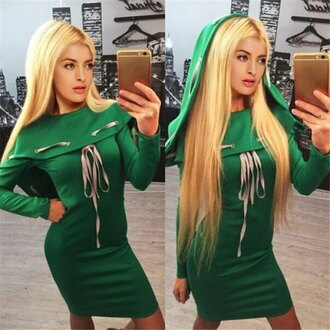 dress green hoodie long sleeves stylish hooded long sleeve slimming lace-up dress for women fall outfits cosplay kawaii cute winter dress