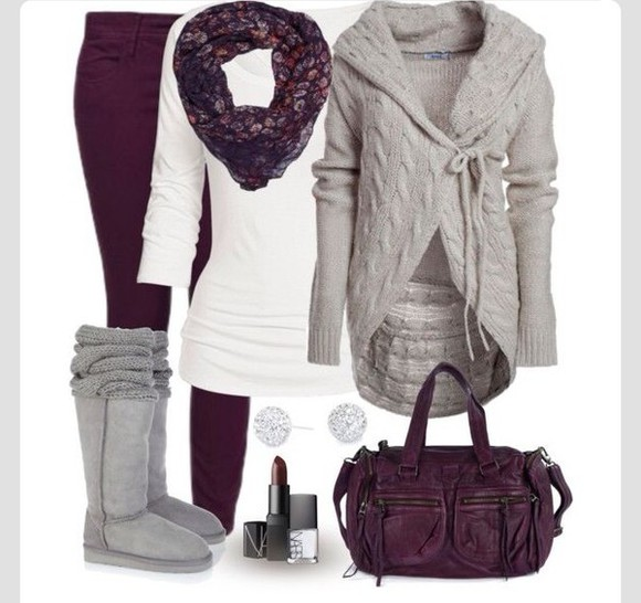 handbag outfit cardigan boots scarf jeans sweater