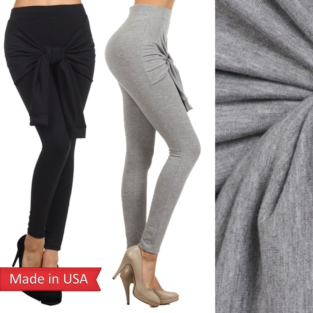 Women new solid color black heather gray knit leggings pants w/ tie closure usa
