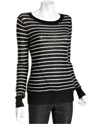 Joie caviar and chalk striped cashmere 'Kenza' sweater at Bluefly