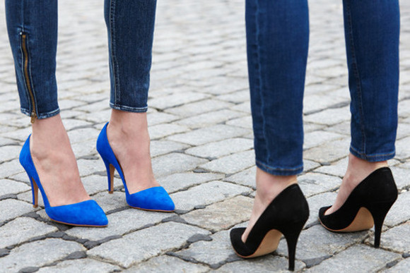 shoes blue shoes classic high heels black shoes