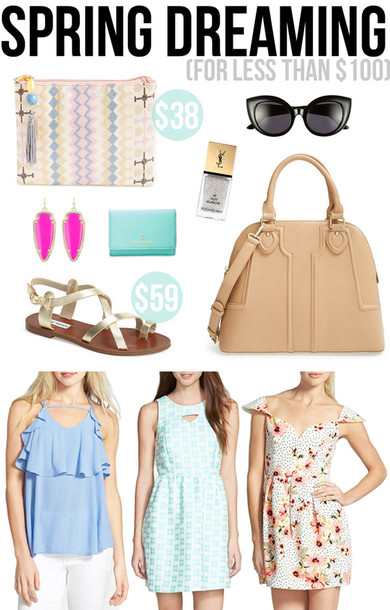 southern curls and pearls blogger tank top dress pouch spring outfits bag sunglasses nail polish jewels shoes