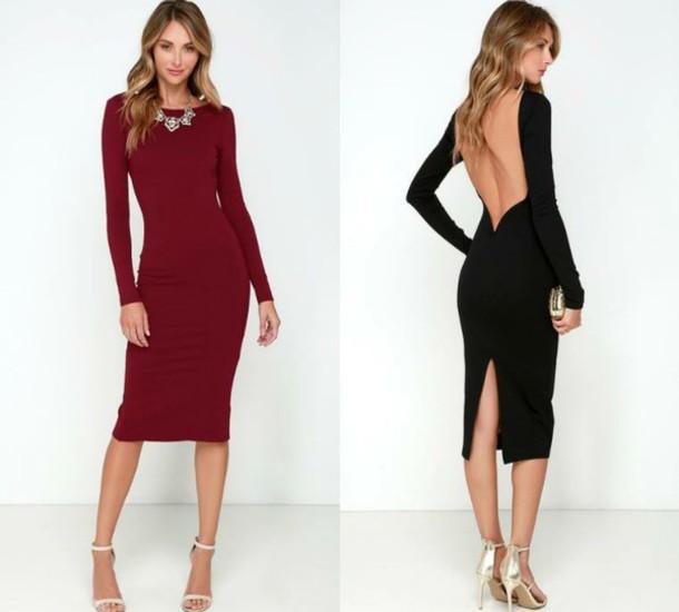 a45be4a2f80 dress backless dress long sleeve dress classy