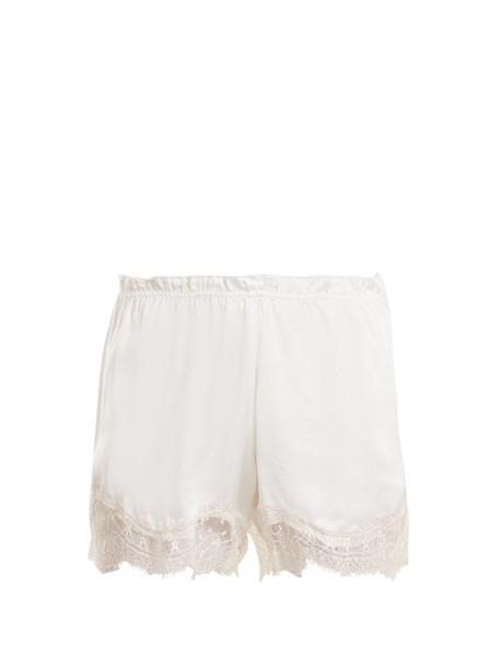 Icons shorts pyjama shorts lace silk satin white