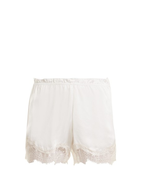 shorts pyjama shorts lace silk satin white