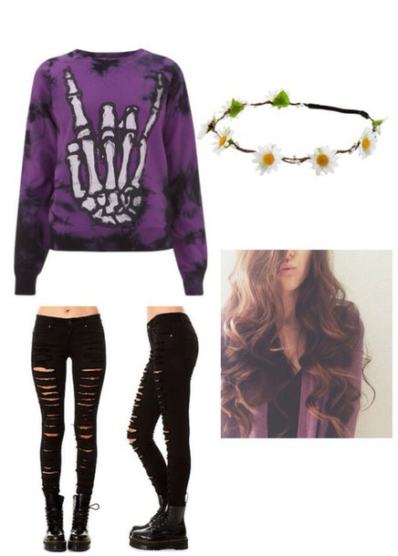 top purple grunge pullover grunge skeleton rock cute sweaters