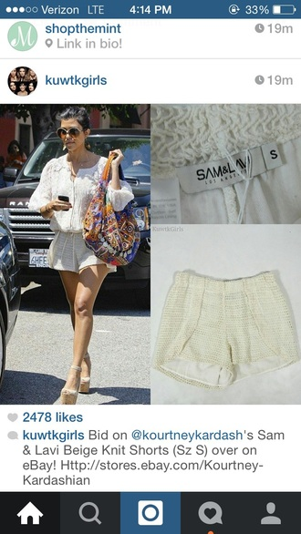 kourtney kardashian crochet shorts off-white shoes shorts