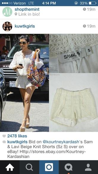 kourtney kardashian crochet shorts off-white shoes