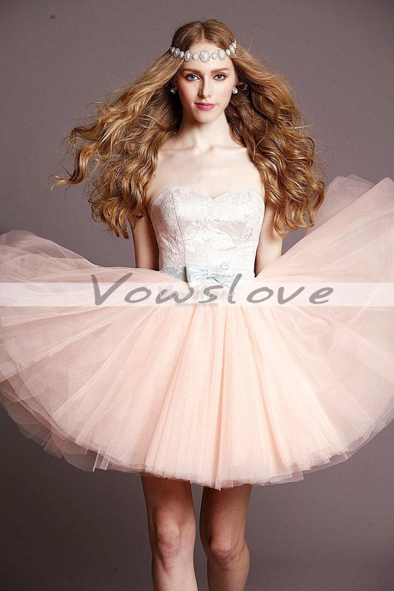 Stunning a line sweetheart applique sleeveless layers skirt mini tulle prom dress vowslove.com