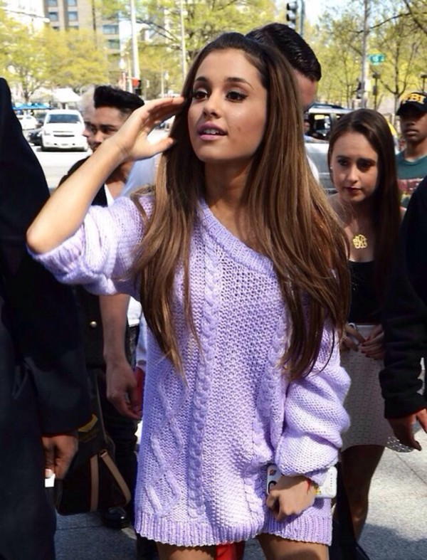 purple sweater cross knit knitted sweater ariana grande purple top sweater