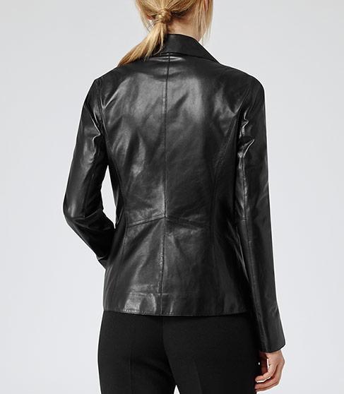 Fray Black Leather Biker Jacket - REISS
