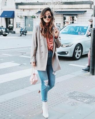jacket blazer grey blazer shirt silk shirt boots white boots denim ripped jeans blue jeans