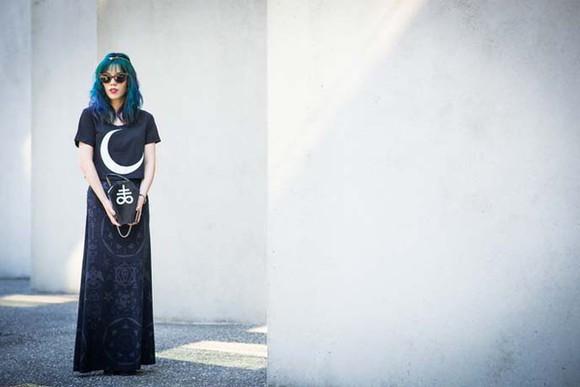 t-shirt hair skirt lacarmina goth killstar haircolor moon