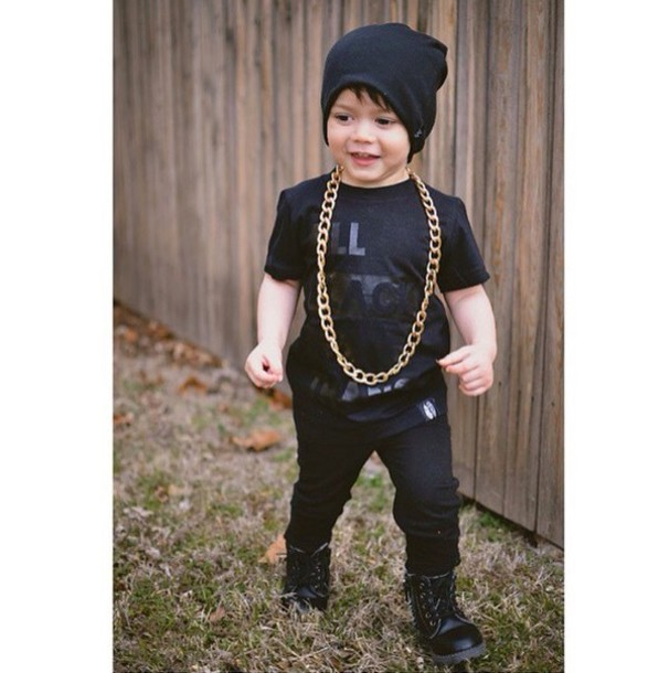 Shoes black black outfit black clothing beenie hat for Dark denim toddler shirt
