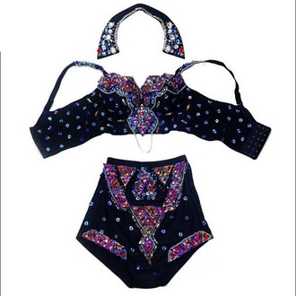 top women chinese folk dance luxury crystal baroque chain women sexy rhinestone handmade buster high waist shorts clothing set