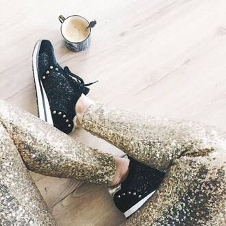 pants sequin pants sequins gold sequins sneakers black sneakers glitter shoes glitter low top sneakers