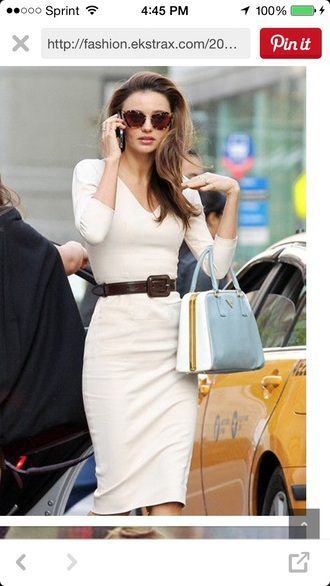 dress eggshell white dress office outfits off-white beige beige dress belt midi skirt style fashion sexy dress chic classy vnecks neutral three-quarter sleeves sunglasses summer dress fall outfits spring