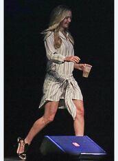 dress,shirt dress,stripes,jennifer lawrence,sandals